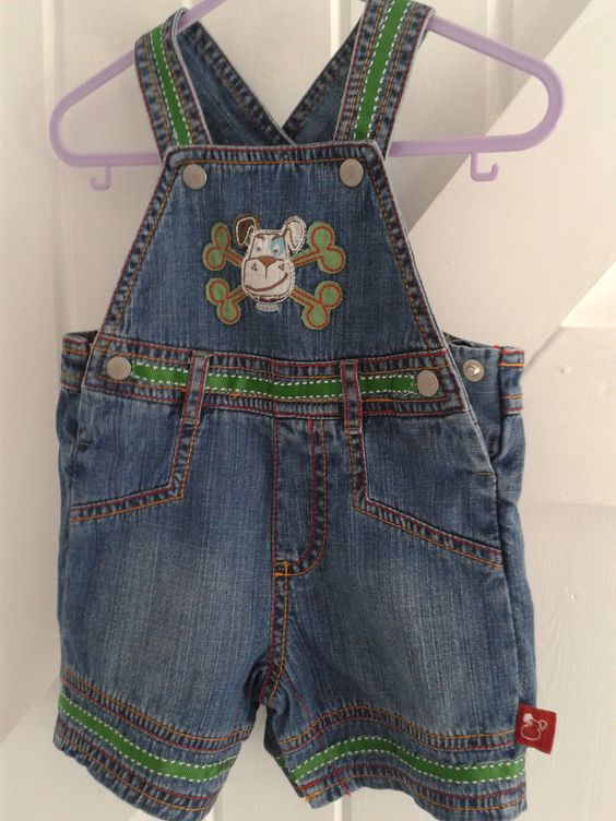 BABY BLUES 'buster' dungarees Re-worked with added colour 0-6 months £10.00