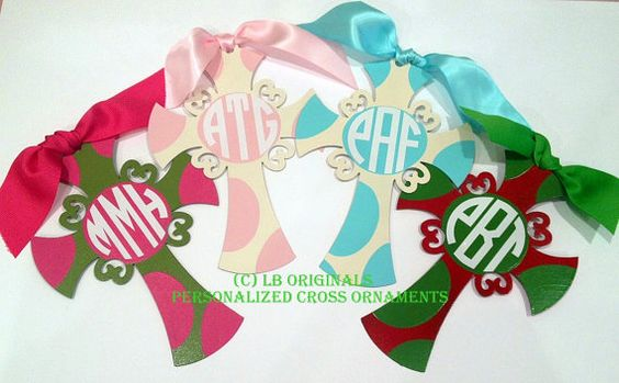 Personalized Painted Cross Ornaments by preppypapergirl on Etsy, $18.00