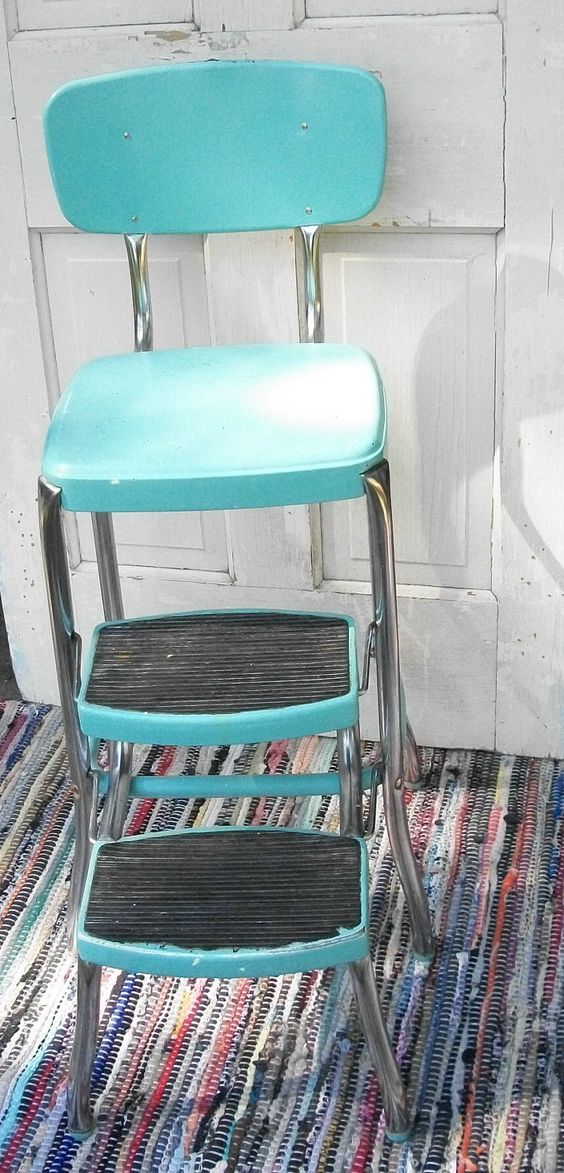 Vintage Turquoise Step Stools And Stools On Pinterest