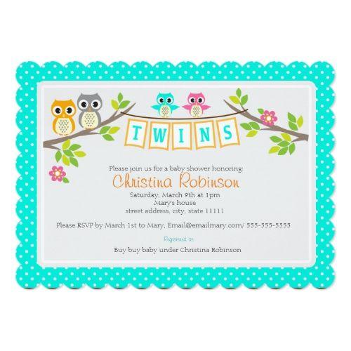 Cute Owls Twin Baby Shower 5 X 7 Invitation Card Zazzle Com Owl Twin Baby Shower Owl Baby Shower Boy Twins Baby Shower Invitations