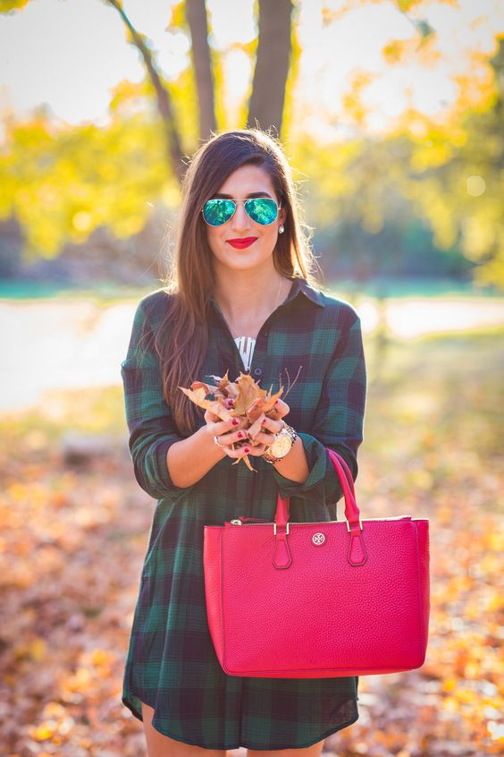 plaid dress, affordable fall outfit, fall outfit ideas, fall fashion and style, brown booties, red tory burch tote, monogram necklace // grace wainwright from a southern drawl