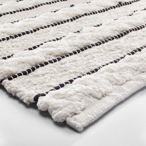 Striped Bath Rug White Black Opalhouse White Bathroom Rug