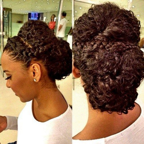 curly updo with braids for black women: