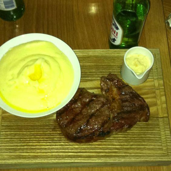 Mash and steak!