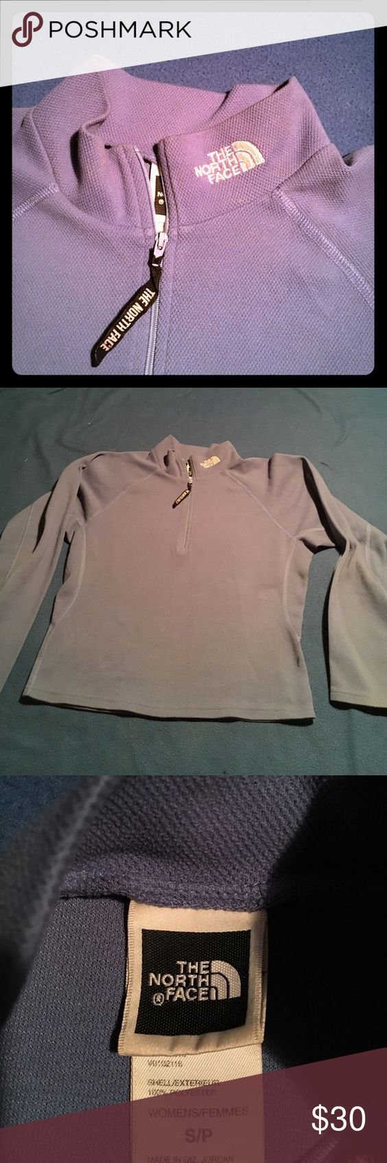 North face longsleeve quarter zip pullover Beautiful blue women's north face, no flaws North Face Sweaters