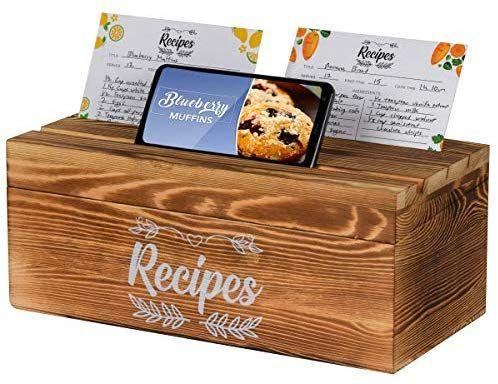 Wood Recipe Box with Recipes Vintage Recipe Organizer Holder Card Divider Set