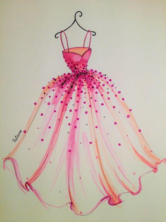 ORIGINAL Fashion Illustration The Pink Dress Beautiful
