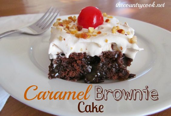 Caramel Brownie Cake (sans nuts and those yucky cherries): Cook Caramel, Brownie Cake, Recipes Desserts, Recipes Cakes, Desserts Pies Cakes Ect, Poke Cake, Country Cook, Caramel Brownies