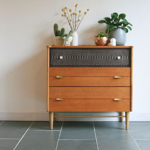 Mid Century Oak Chest Of Drawers | Living Room And Kitchen