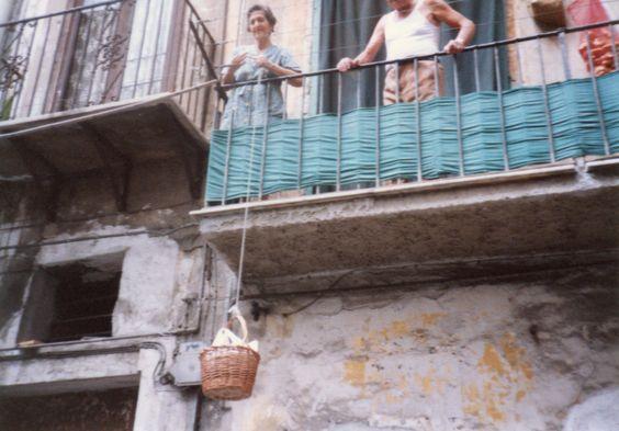 Shopping from balcony in Cefalu