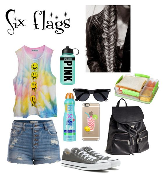 Six flags by charirene on Polyvore featuring polyvore, fashion, style, Pieces, Converse, H&M, Casetify, River Island, Kiss My Face, Sistema and Victoria's Secret PINK