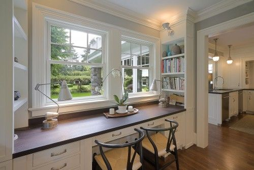 Built-in desk- like the bookcases on the end
