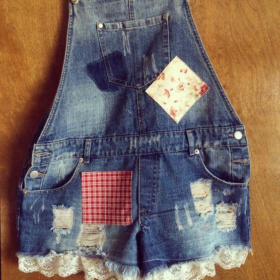 """www.rhapsodyreinventions.com """"#rhapsodyreinventions #rhapsodyjeans #overalls #patchedoveralls #patchworkdenim #shorts Our latest creation!"""""""
