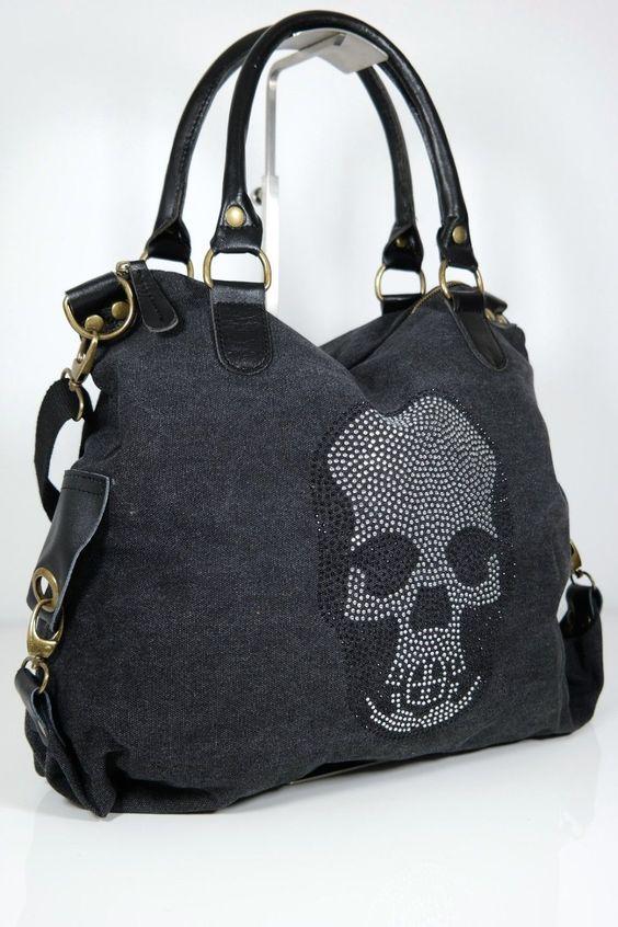 Taschen : Totenkopf Tasche aus Canvas
