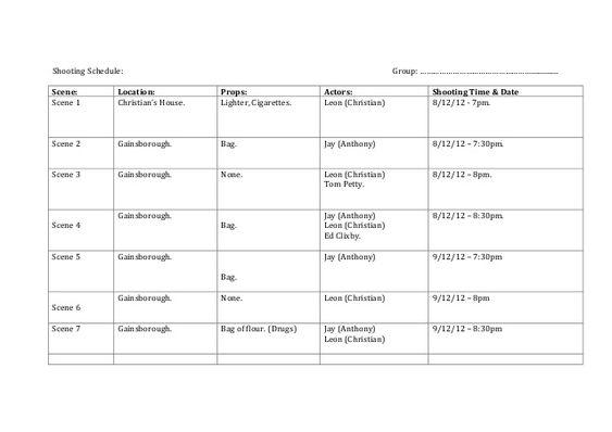 Shooting Schedule Group      Sce