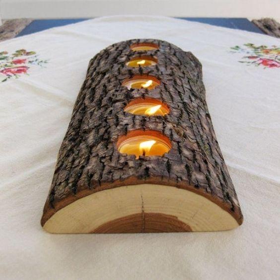 décoration de Noël en bois: bougeoir rustique pour les chauffe-plats