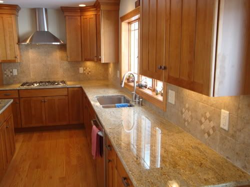 Natural Maple Cabinets Dark Floors, Natural Maple Cabinets With White Granite Countertops