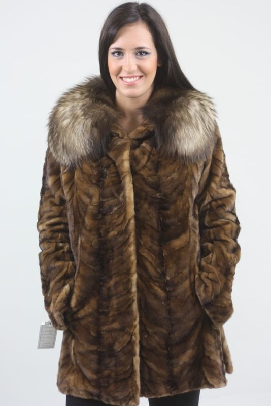 Brown Mink Fur Coat With Luscious Fox Collar - SKANDINAVIK FUR
