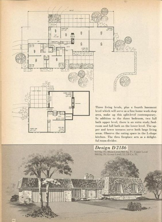 House plans vintage house plans and the o 39 jays on pinterest for 1970s house floor plans