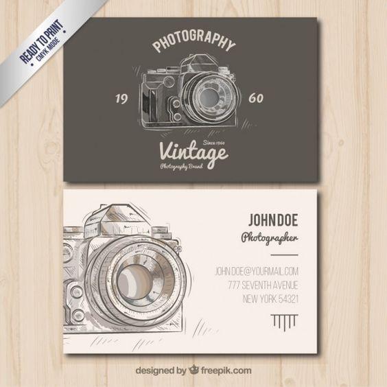O fotógrafo cartão de visita no estilo do vintage Vetor grátis