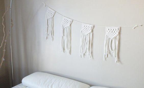 Macrame bunting garland  100% cotton rope  by HipsyLoop on Etsy