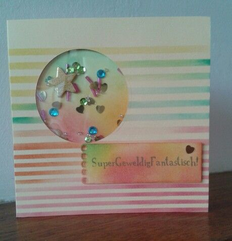 "Complimenten-dag shaker-kaart; ""SuperGeweldigFantastisch"" 01032015 Rotz at home"