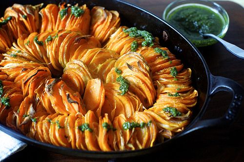 crispy sweet potato roast with thanksgiving salsa verde | cooking ...