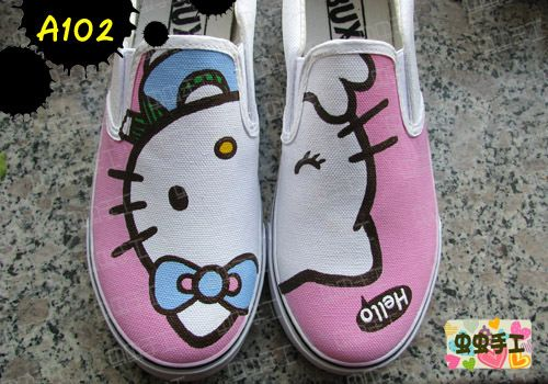 Strapless hand-painted shoes graffiti shoes canvas shoes female - kt cat HELLO KITTY - a102 $1201,63