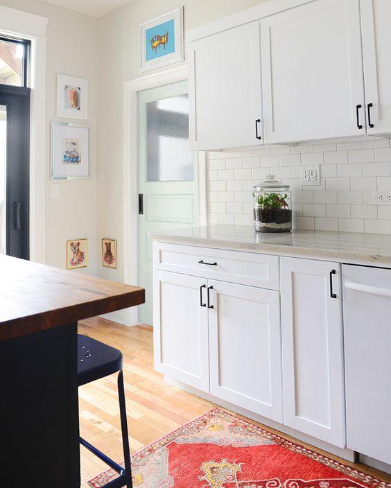 Black Shaker Kitchen Cabinets: Pale Aqua Pantry Door, White Shaker Cabinets, Black