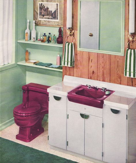 C. 1950 Eggplant Mint-Green Bathroom