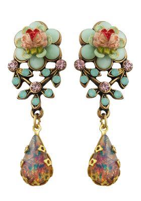 Michael Negrin Jewelry Flower Post Earrings With Tear Drop