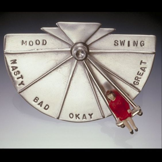 Mood Swing Brooch - wow, this would be a perfect idea for me!  Watch out people, if the swing is on the left!: