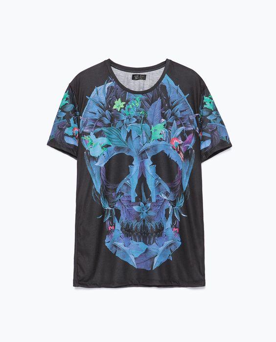 ZARA - MAN - Skull and flowers T-shirt