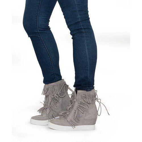 Sneakersy Na Koturnie Z Fredzlami Boho 881 2 Szary Szare Sneakers Looks Sneakers Wedge Sneakers