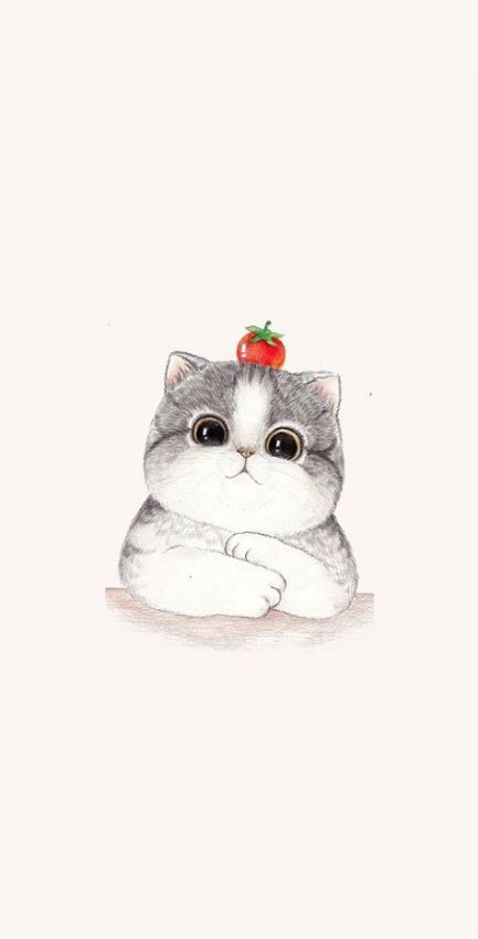 Pin By Floria On Kawaii Wallpaper Cute Drawings Cat Art Cute Cat Wallpaper
