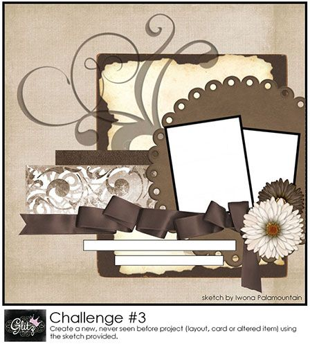 Scrapbook idea 4. Photos with swirls, flowers and bows.