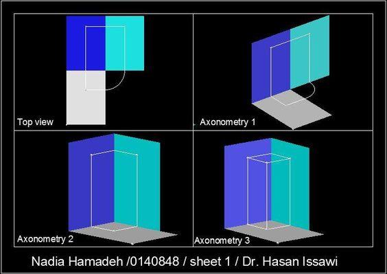 اللوحة الاولى: عملية تحديد الاسقاطات العمودية لنقطة P موضوعة في الزاوية الزوجية الاولى
