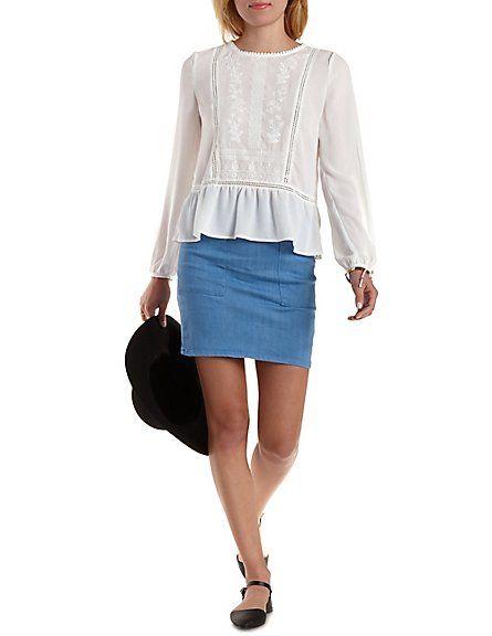 Patch Pocket Chambray Mini Skirt