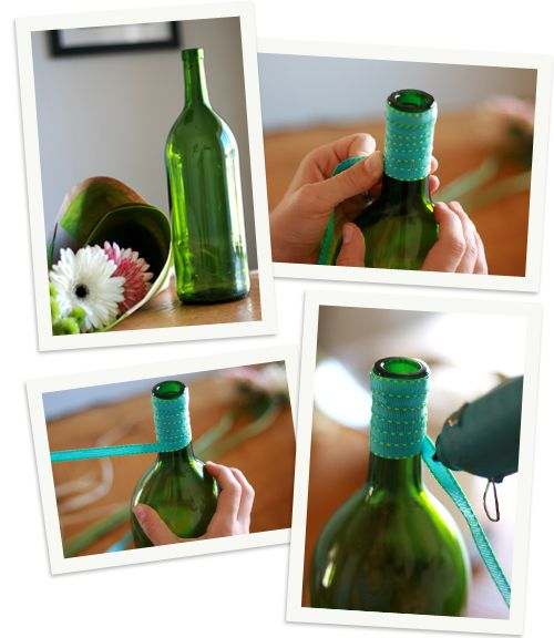 Simple DIY - ribbon-wrapped vase centerpiece. Perfect for a bridal shower or engagement party!