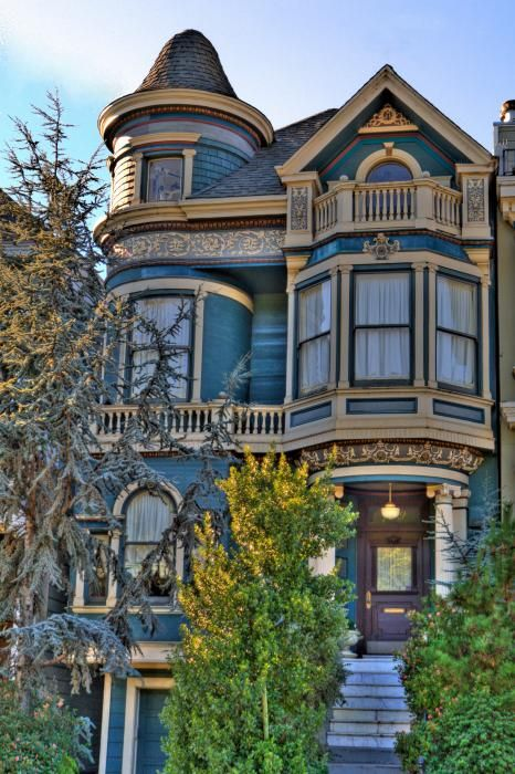 San Francisco Victorian: Architecture Victorian, Bay Window, Houses Victorian, Dream House, Victorian Home, Dream Home, Blue House, Beautiful Victorian, Victorian Houses