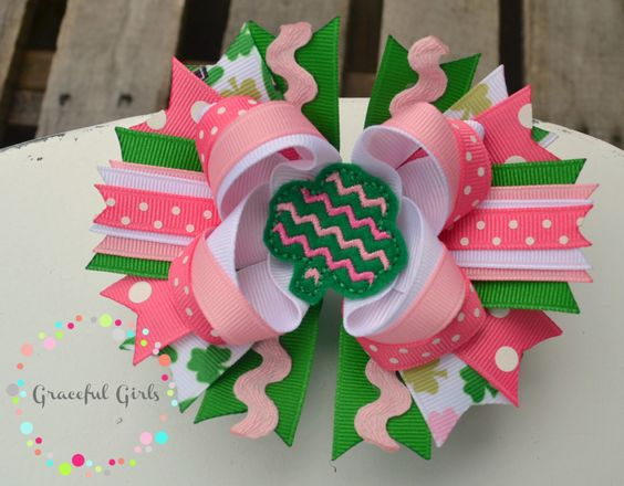A personal favorite from my Etsy shop https://www.etsy.com/listing/224994656/st-patricks-day-lady-luck-stacked-bow