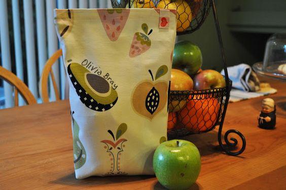 Reusable Fabric Lunch Bag: Laura Bray: www.katydiddys.blogspot.com
