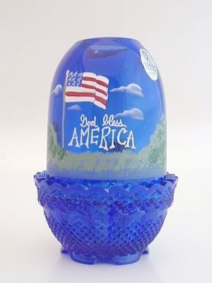 Fenton Glass GOD BLESS AMERICA Cobalt Blue Fairy Lamp