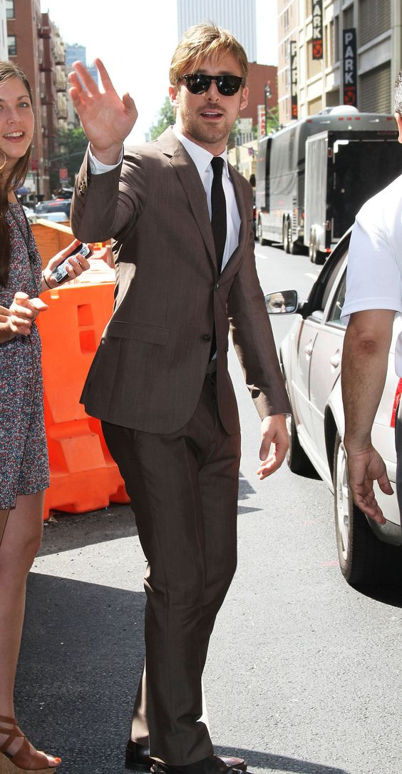Ryan Gosling brown suit white oxford shirt brown tie sunglasses