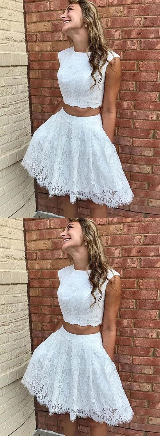 White Lace Two Piece Homecoming Dress With Pockets In 2021 Lace Homecoming Dresses Cocktail Dress Lace Snowball Dresses [ 1500 x 550 Pixel ]