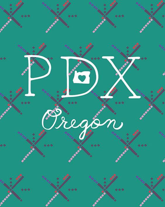 PDX airport carpet illustration art print, Portland, Oregon