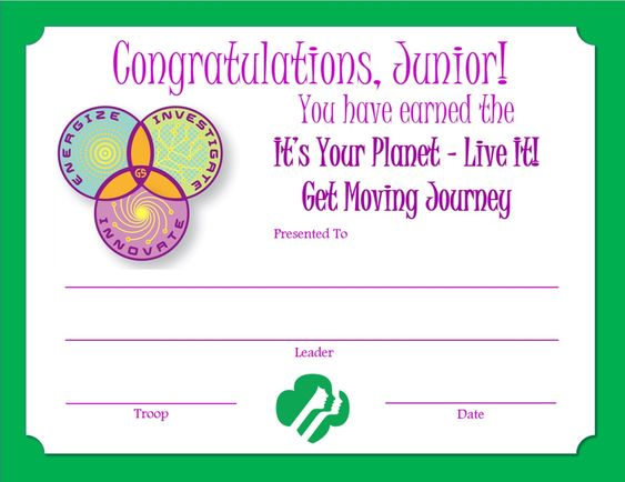girl scout award certificate templates - girl scout certificate templates of junior get