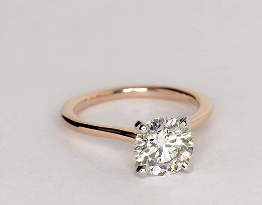 Petite Solitaire Engagement Ring In 14k Rose Gold Blue Nile Solitaire Engagement Ring Classy Engagement Ring Wedding Rings Engagement
