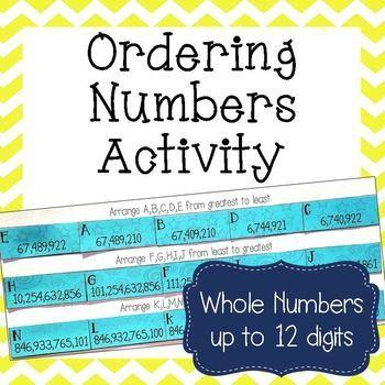 Pre School Worksheets : ordering whole numbers worksheets 4th ...