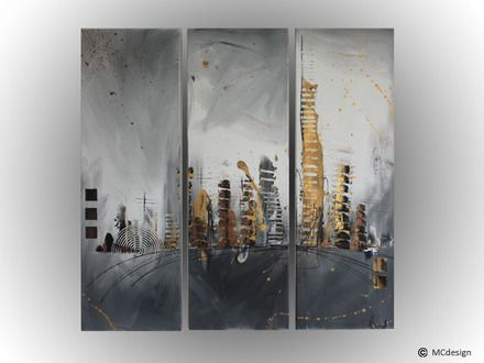 tableau toile art abstrait ville immeuble tour gris noir dor peinture. Black Bedroom Furniture Sets. Home Design Ideas